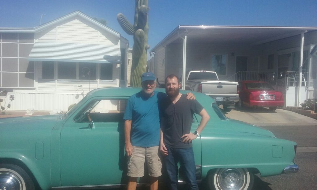 previous owner and myself in front of 1952 Studebaker Champion